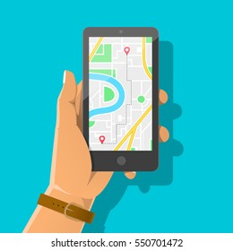 Hand holding phone with map and marker. Mobile navigation concept. Flat vector cartoon illustration. GPS navigator