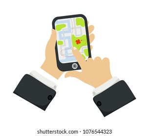 Hand holding phone with map Mobile gps navigation and tracking concept. New Flat vector cartoon illustration. Location track app on touch screen smartphone