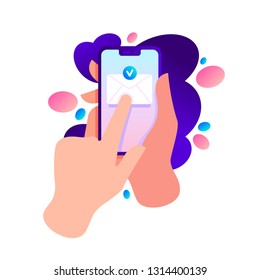 Hand holding phone with message envelope. Finger touch screen. Sending message concept. Vector flat cartoon illustration for web sites and banners design.