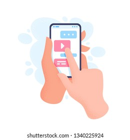 Hand holding phone with message. Finger touch screen. Sending message concept. Vector flat cartoon illustration for web sites and banners design.
