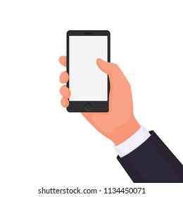 Hand holding a phone on a white background. To place your product, service or advertisement. The interaction of a person and a smartphone. Vector illustration in a flat style