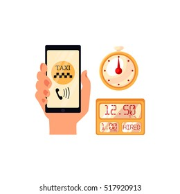 Hand holding phone with taxi calling app, cartoon vector illustration isolated on white background. Calling taxi service by phone concept