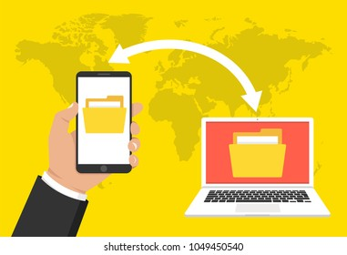 Hand holding phone and transferred documents to laptop. File transfer concept. Vector illustration.