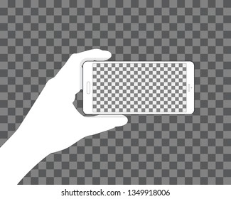 Hand holding phone, transparent background for your design. Horizontal position. Blank touch screen. Vector illustration