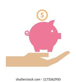 hand holding piggy bank money invest
