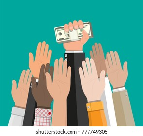 Hand holding pile of cash money. Award, victory, champion achievement. Vector illustration in flat style