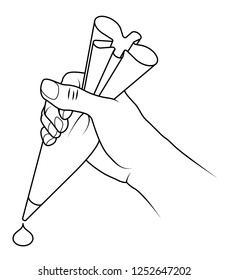 A hand holding a piping bag with a dollop of shaped icing mixture.
