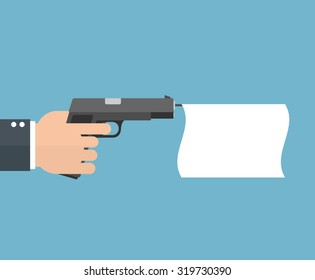 Hand holding a pistol with an empty flag. Flat style