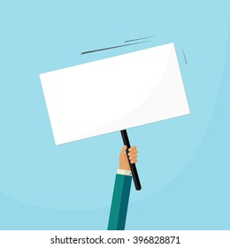 Hand holding placard with empty space for text, business man hand swinging board with handle vector illustration design isolated on blue background