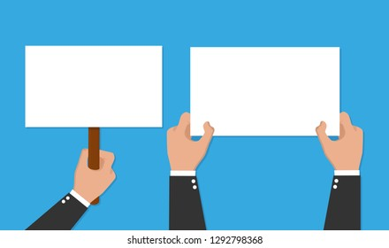 Hand holding placard. Vector flat for web banners, infographic design