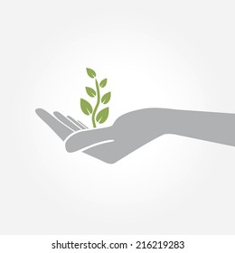Hand holding plant. Growth concept vector illustration.