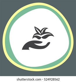 Hand holding plant vector icon. Flower and arm sign. Botanical garden symbol
