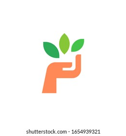 Hand holding plants logo template vector icon design