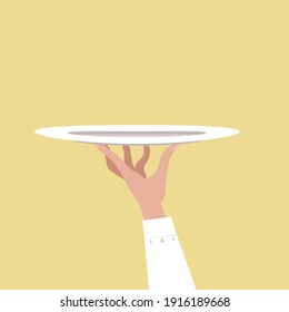 Hand holding plate. Concept for banner, poster, card, design.