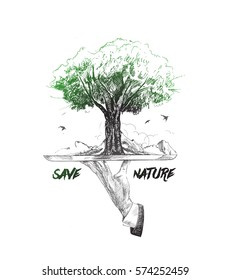 Hand holding plate of  save tree against white background, Ecology and Earth day concept.
