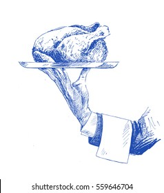 Hand holding plate of whole roasted chicken, Hand Drawn Sketch Vector illustration.