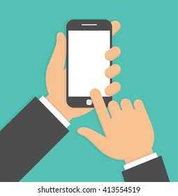 Hand holding and pointing to a smartphone with blank screen. Flat design