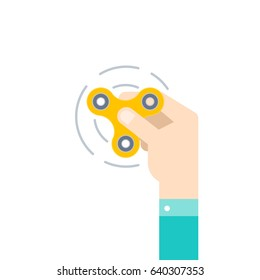 Hand holding popular fidget spinner toy, stress relief.  Flat style vector illustration