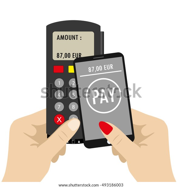 Hand holding Pos terminal and smartphone.nfc payments concept. Vector illustration in flat design background
