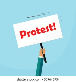 Hand holding protest placard vector illustration, concept of social protest, riot, revolution issue