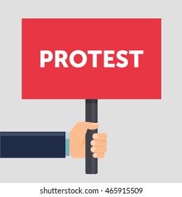 Hand holding protest sign flat illustration. Protest or demonstration. Political rally concept. Flat design. Vector illustration.