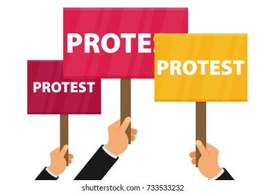 Hand holding protest sign flat illustration