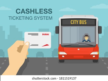 Hand holding a public transport cashless ticketing system card. City bus on the road. Flat vector illustration template.