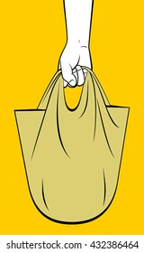 Hand holding purchases bag
