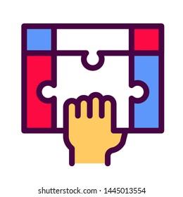 Hand holding puzzle line color icon. Teamwork concept. Solution finding. Resolve issue. Symbol for web page, mobile app, banner. Pictogram UI/UX user interface. Vector clip art. Editable stroke.