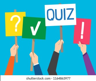 Hand holding quiz placard with question and exclamation markst. Vector illustration.