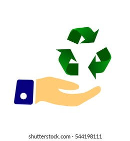 Hand holding Recycle symbol.