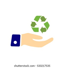 Hand holding Recycle symbol. Vector Illustration.