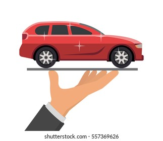 Hand holding red car, vector illustration