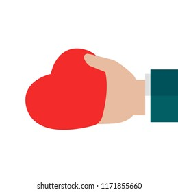 Hand holding red heart on white background. charity, philanthropy, giving help, love concept. Flat vector illustration.
