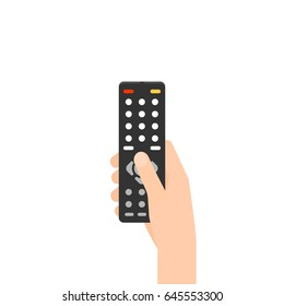 hand holding remote control. Vector illustration isolated on white background
