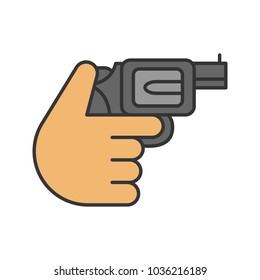 Hand holding revolver color icon. Shooting. Russian roulette. Isolated vector illustration