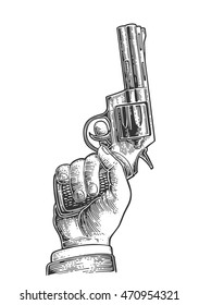 Hand holding revolver for fired to starting. Vector engraving vintage illustrations. Isolated on white background. For tattoo, web, shooting club and label