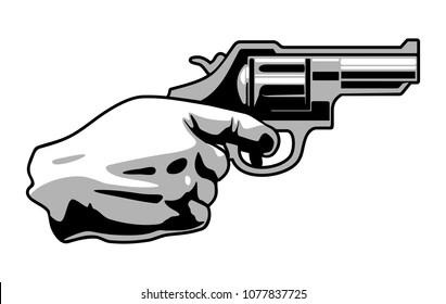 Hand holding revolver gun isolated on white background. Flat black and gray vector illustration