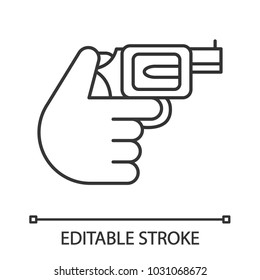Hand holding revolver linear icon. Shooting. Russian roulette. Thin line illustration. Pistol, gun. Contour symbol. Vector isolated outline drawing. Editable stroke