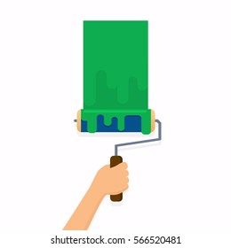 Hand holding roller brush and painting a wall. Flat design modern vector illustration concept.