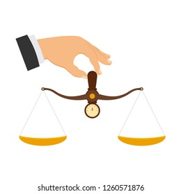 Hand holding scales to weigh objects. Scales in the hands of man, scales in the hands of justice, justice concept. Vector illustration