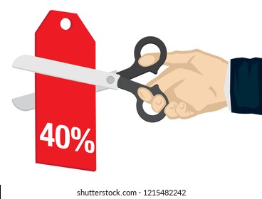 Hand holding a scissor, cutting the 40% off price tag. Concept of sale, discount; promotion or bargain. Isolated vector illustration