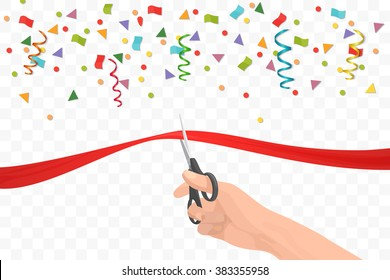 Hand holding scissors and cutting red ribbon on the transperant background with colorful confetti . Opening ceremony or celebration and event.