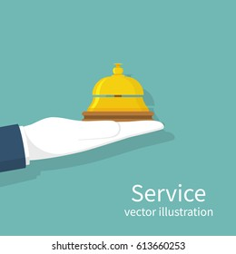 Hand holding service bell. Vector illustration flat design. Isolated on background. Bell hotel. Receptionist concept. Portrait, concierge. Giving service.
