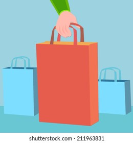 hand holding a shopping bag - flat design vector