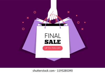 Hand holding Shopping bags. Black Friday. Vector illustration