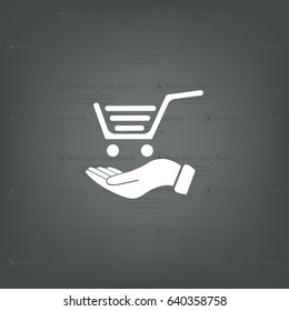 hand holding a shopping cart online store. icon. Vector Eps 10