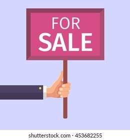 Hand holding sign. For sale. Vector illustration