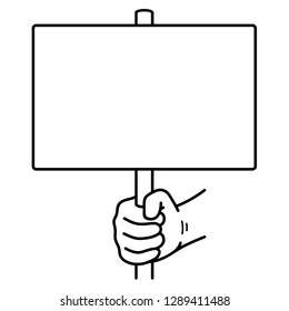 Hand holding sign. Vector outline icon isolated on white background.