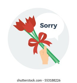 A hand holding a small bouquet of red tulip flowers tied together with a red ribbon and a speech bubble saying sorry vector illustration